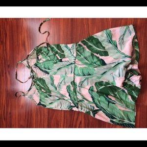 White & green palm romper